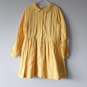 CARAMEL Mustard Yellow Long Sleeve Muslin Dress